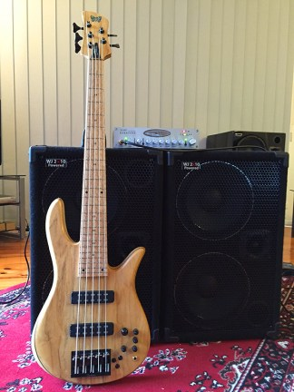 Play a Fodera Monach 5 Deluxe bass guitar through a Wayne Jones AUDIO bass guitar speaker rig in Melbourne Australia