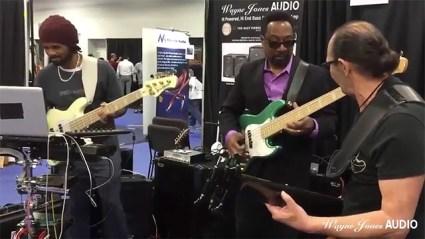 NAMM 2016 André Berry & Nate Phillips & Wayne Jones Jam at Wayne Jones Audio Booth. National Association of Music Merchants (NAMM)