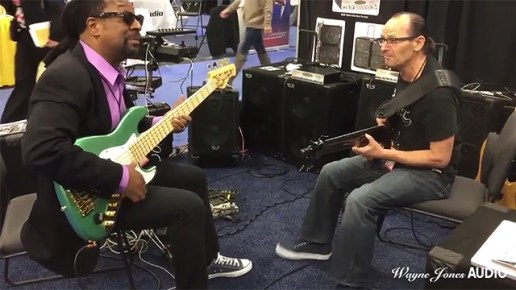 Nate Phillips & Wayne Jones Jam at Wayne Jones Audio NAMM 2016 Booth. Wayne Jones AUDIO - Hi Powered, Hi End Bass Cabinets, Hi Fi Studio Monitors & Stereo Valve Bass Pre-Amp