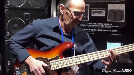 Premier Australian bass player Wayne Jones @ Wayne Jones AUDIO stand - Melbourne Guitar Show - August 2015.