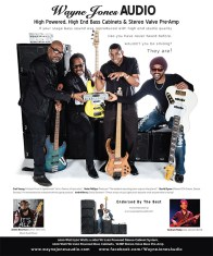 Sneak peek of Wayne Jones AUDIO upcoming advert. Endorsees appearing include bass players: Carl Young (Michael Franti & Spearhead), Nate Phillips (Pleasure), David Dyson (Pieces Of A Dream, Secret Society), André Berry (David Sanborn), André Bowman (Usher, Will I Am, Black Eyed Peas), Graham Maby (Joe Jackson