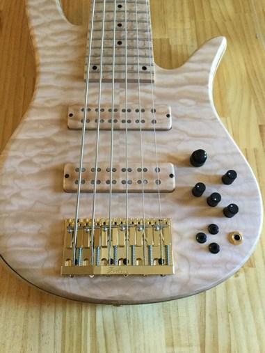 My Custom Fodera Monarch 6 bass guitar - Ash body, Ash tone block. Quilted Maple top, Maple neck & Birdseye maple board, Pope 3 band EQ