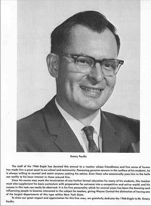 1966 Wayne Eagle Yearbook Dedication