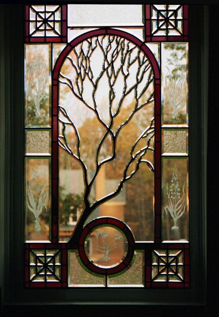 Contemporary Stained Glass Sculpted Tree Beveled Glass Window ©Cain Art Glass 2016, All Rights Reserved