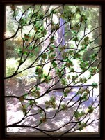 Contemporary Sculpted Stained Glass Apple Blossoms 02