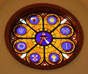 Stained Glass Rose Window Sacred Heart of Jesus St. Thomas Aquinas Charlottesville Virginia ©Cain Art Glass 2016, All Rights Reserved