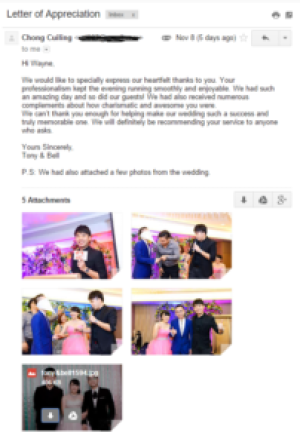 wedding emcee testimonial