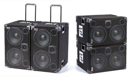 Wayne Jones AUDIO 1000 Watt 2x10 Powered Bass Cabinet side by side and stacked