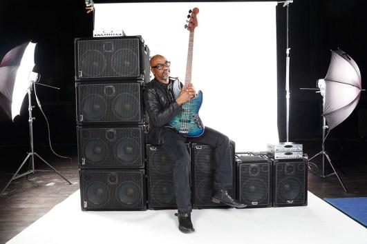 Carl Young, bass player & Wayne Jones AUDIO endorsee. Orginal shot before editing for advert. At Center Staging, 3407 Winona Ave., Burbank, CA 91504.