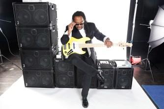 Nate Phillips, bass player & Wayne Jones AUDIO endorsee. Orginal shot before editing for advert.