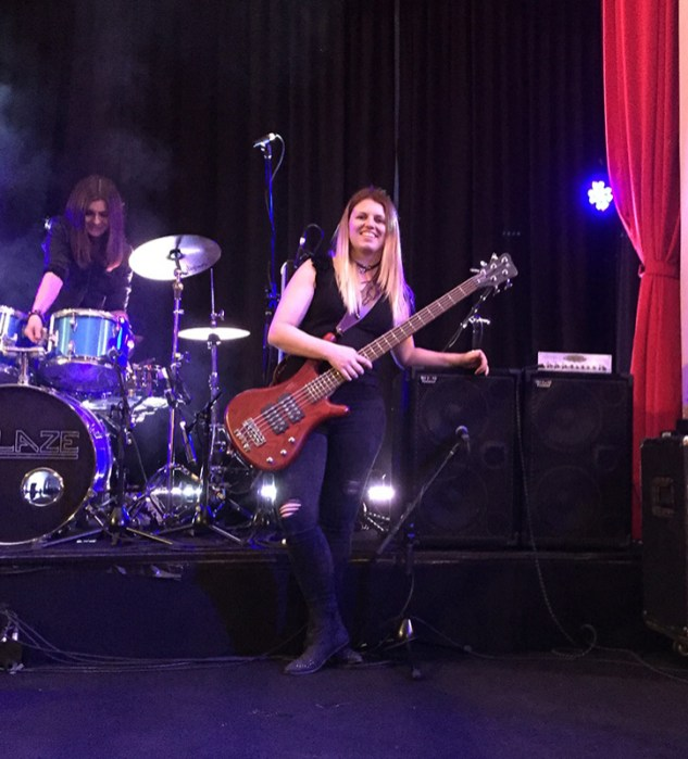 Jess Reily, Wayne Jones AUDIO endorsee, at sound check for Tequila Mockingbyrd pre-tour farewell show held 10th September, before UK & Europe tour.