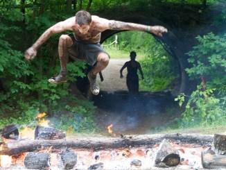 Jumping Through Fire at Spartan Race