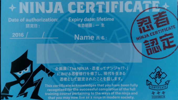 Miraikan Ninja Certificate