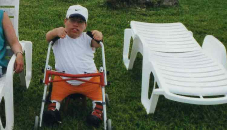 Larry with a walker in 1999, one month after he started Karate