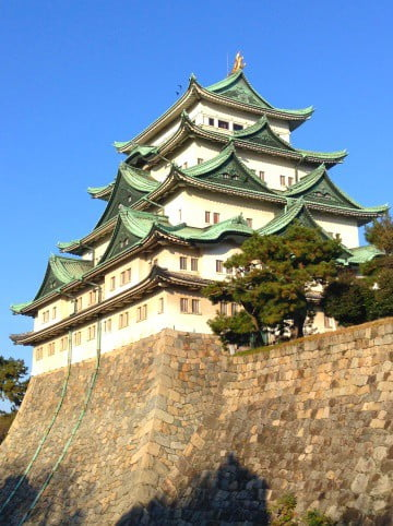 Nagoya Castle atop wall