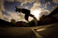 Parkour backflip