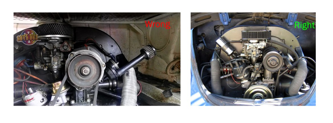 the image on the right shows a breather pipe fitted to the outlet and  correctly attached to airfilter