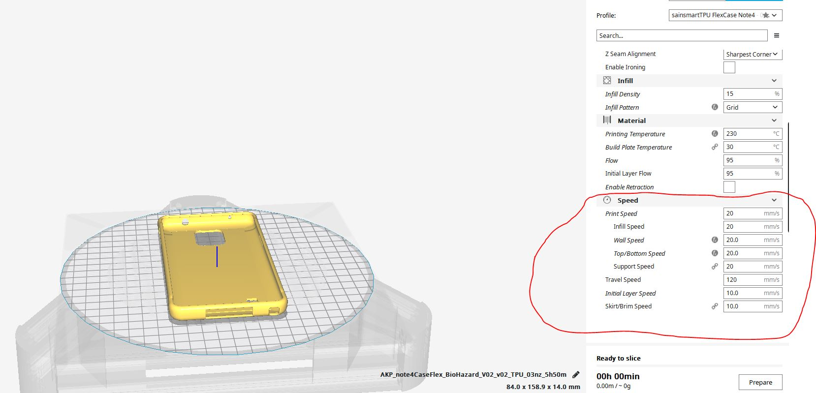img cura settings Note4 Flexcase
