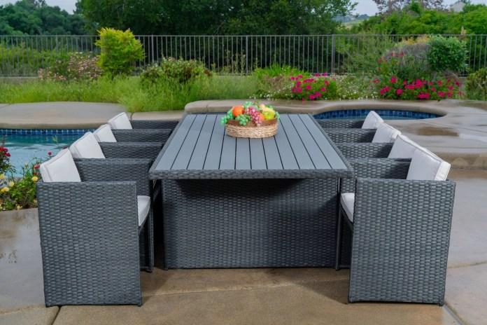 Dalia 9 Piece Dining Set Outdoor Patio Furniture Wicker Rattan Resin Waystock