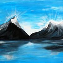 Peinture de Milford Sound, dans le sud de la NZ.