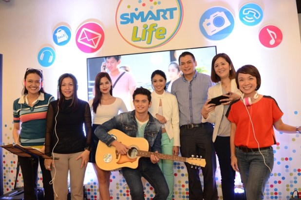 "The launch of the next-generation Smart Stores, as well as the ""Smart Life"" concept, was graced by young stars and Smart celebrity endorsers Jasmine Curtis-Smith, James Reid, and Nadine Lustre. Also in the photo are (from left) Smart executives Michele Curran, Mellissa Limcaoco, EVP and Wireless Consumer Division Head Charles A. Lim, Maloo Agoncillo, and Kathy Carag. Credits: Smart."