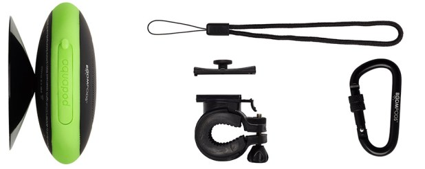 Aquapod Accessories: Shower Walll Suction Cup, 3M Reflective safety lanyard, Bike Mount, Karabiner