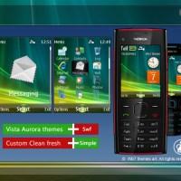 Nokia X2-00 theme sidebar clock Vista aurora style