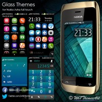 Glass themes for Nokia Asha full touch Asha-311 Asha-305