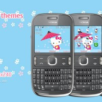 Hello Kitty Blue theme s40 Asha 302