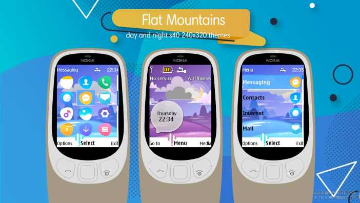 Flat mountains swf day and night animated theme X2-00 X3-00 X2-05