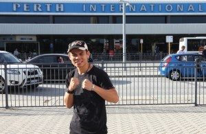 "WBA Super World Featherweight Champion Chris ""The Dragon"" John has arrived into Perth, Australia"