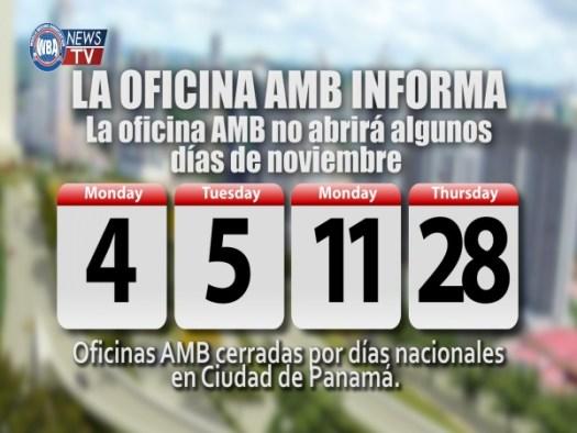 Oficinas de la AMB cerradas por días nacionales en la Ciudad de Panamá