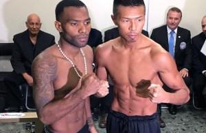 Jezreel Corrales - Takashi Uchiyama weigh-in - WBA Super Featherweight Championship
