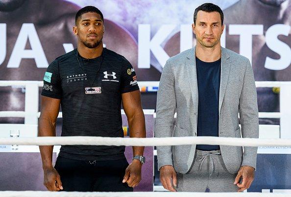 Joshua y Klitschko promocionan su próximo combate.