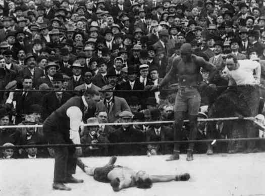 Stanley Ketchel defeated by the legendary Jack Johnson.