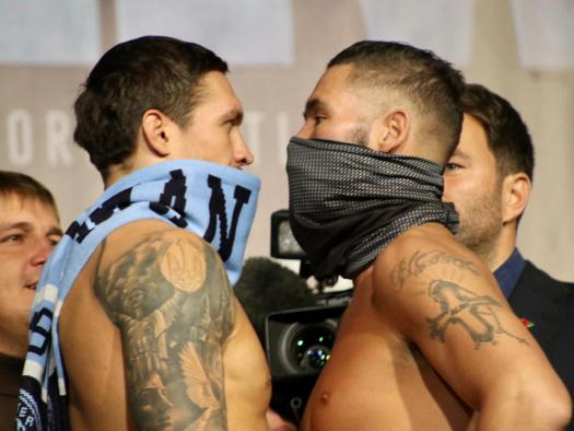Usyk and Bellew make the weight in Manchester