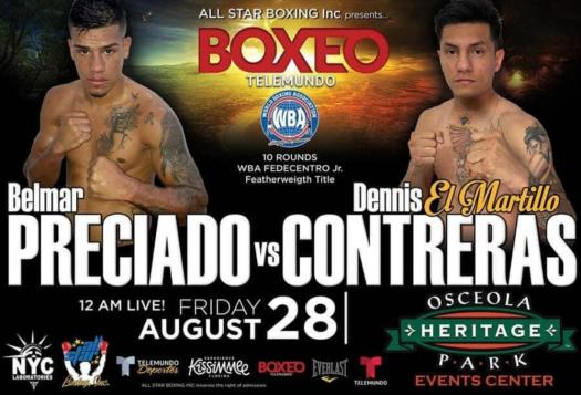 Preciado-Contreras for the WBA-Fedecentro Featherweight title in Kissimmee