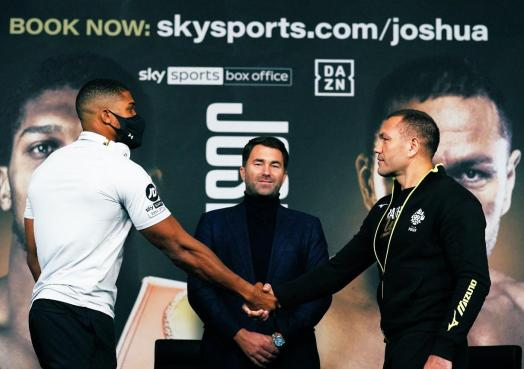 Joshua and Pulev went face to face two days before their fight for the WBA belt