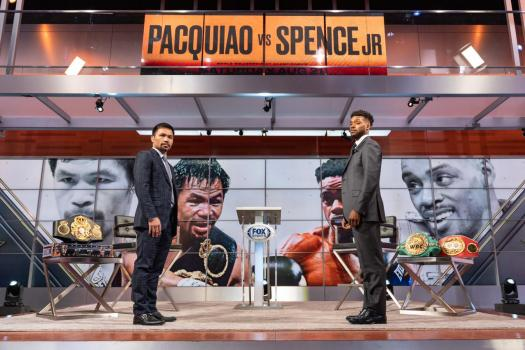 Pacquiao and Spence went face to face in Los Angeles