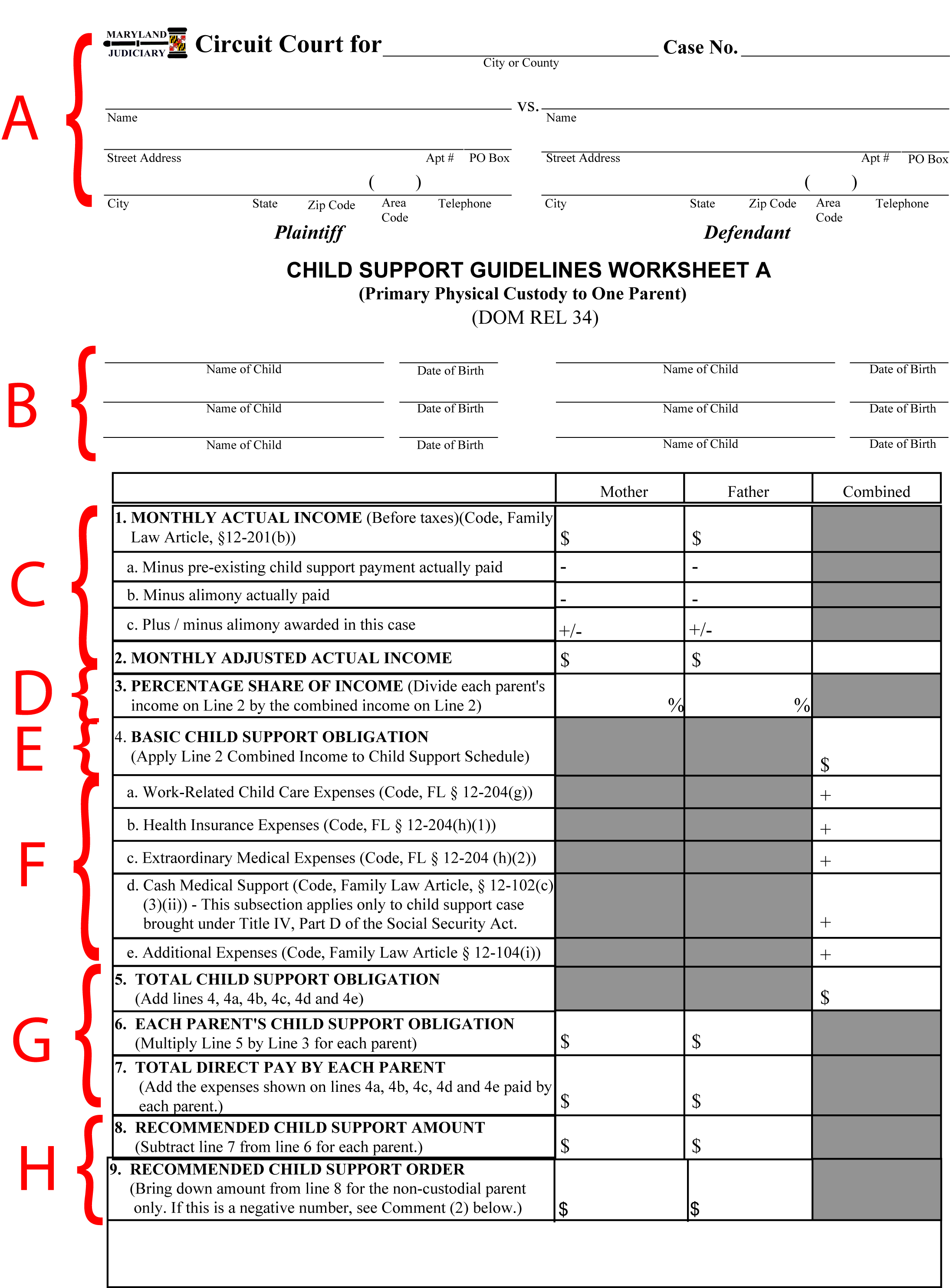 Calculating Child Support Maryland Child Support Worksheet Part 1 Sole Custody