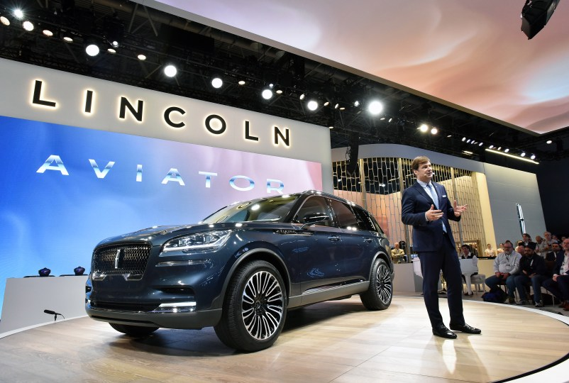 NEW YORK, NY., March 28, 2018--Jim Farley, executive vice president and president of Global Markets, Ford Motor Company introduces the new Lincoln Aviator preview at the 2018 New York International Auto Show. Photo by: Sam VarnHagen