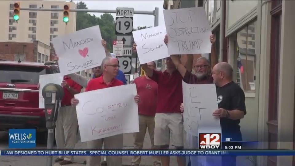 Protesters gather in Fairmont to persuade Senator Manchin toward President Trumps SCOTUS decision