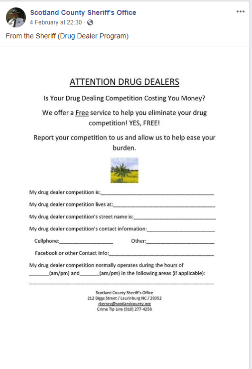 Scotland County Sheriff's Office offers to help drug dealers with