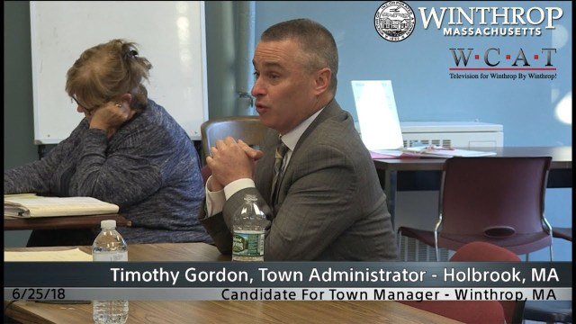Winthrop, MA Town Manager Candidate Interview: Timothy Gordon
