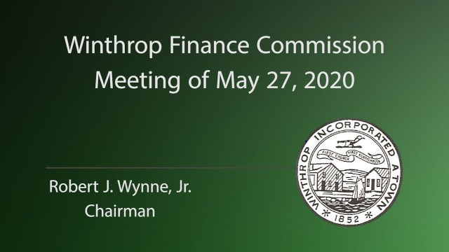 Winthrop FinCom Meeting of May 27, 2020