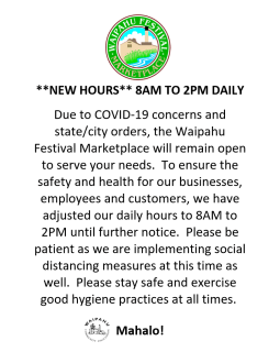 Waipahu Festival Marketplace NEW HOURS
