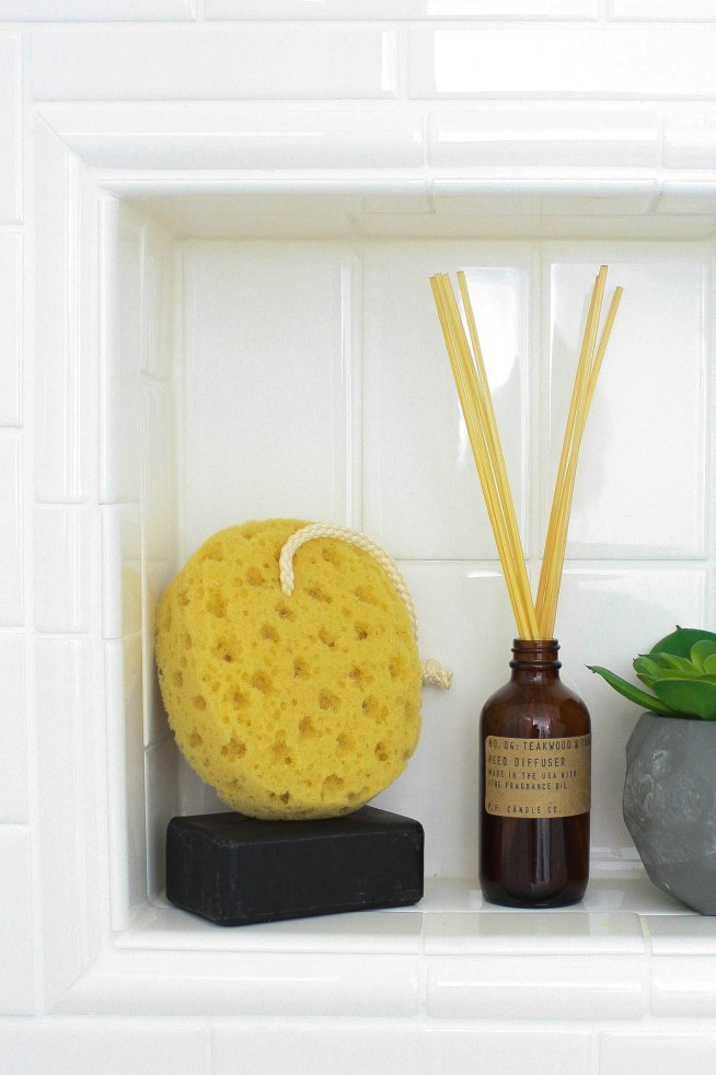 Subway Tile Nook with Reed Diffuser