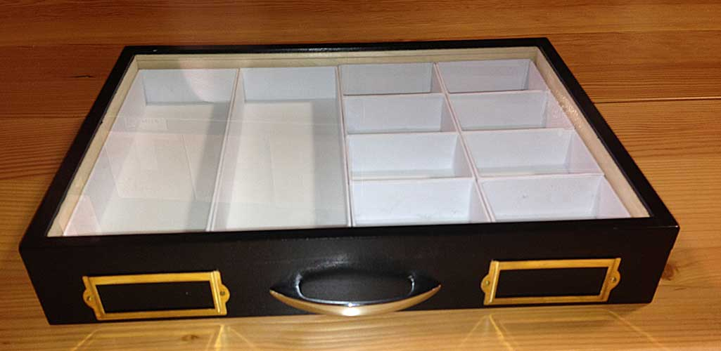 Glass Top Display Drawer with Compartments