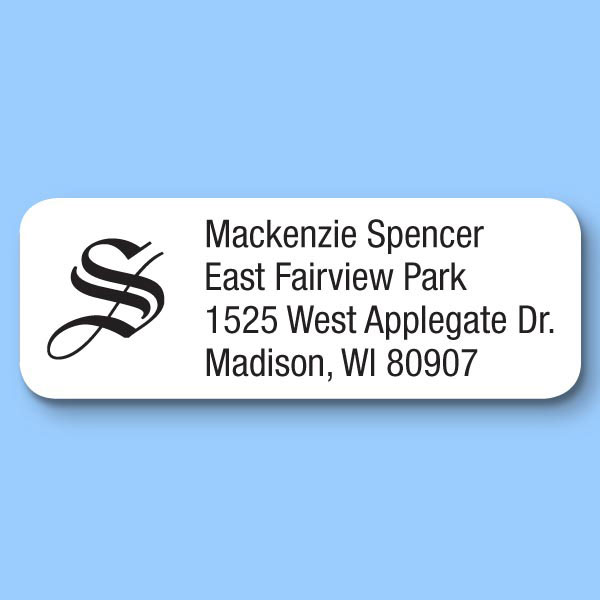 Old English Initial Personalized Roll Address Labels Set