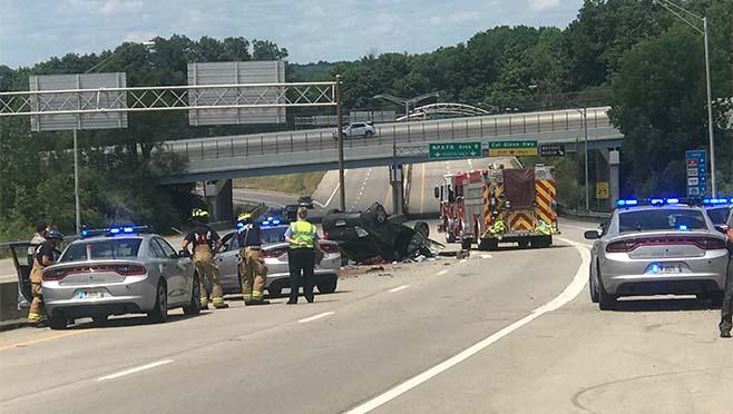 I-675 crash causes traffic delays near Colonel Glenn Highway
